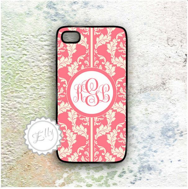 coral and cream iphone 4s in case monogrammed hard cover on luulla
